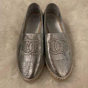 Authentic Chanel Silver Espadrilles 41